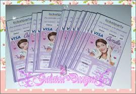 20 Invitaciones Tipo Ticket Violetta 240 00 En Mercado Libre