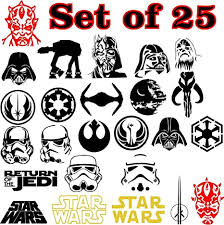 Amazon Com Star Wars Logo Symbols Emblem Anime Vinyl Decal Sticker For Car Window Laptop Wall Room All Set Of 25 White Arts Crafts Sewing