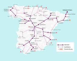 Mappa dei percorsi Renfe ad alta velocità e lunga distanza ...