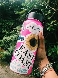 Preppy Pink Hydroflask With Stickers Cute Water Bottles Hydro Flask Water Bottle Flask Water Bottle