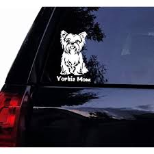 Amazon Com Tshirt Rocket Yorkie Mom Decal Cute Yorkshire Terrier Dog Vinyl Car Decal Laptop Decal Car Window Sticker 5 White Automotive