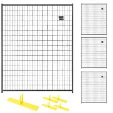 Perimeter Patrol 6 Ft X 20 Ft 4 Panel Black Powder Coated Welded Wire Temporary Fencing Rf 0505 Wwp The Home Depot