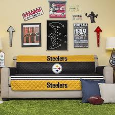 Amazon Com Nfl Pittsburgh Steelers Sofa Couch Reversible Furniture Protector With Elastic Straps 75 Inches By 110 Inches Home Kitchen