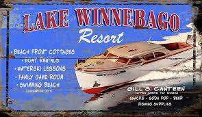lake winnebago vintage wooden sign 15