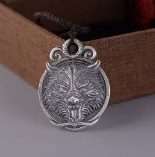 999 silver wolf pendant necklace real