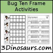 3 dinosaurs bug ten frames activities