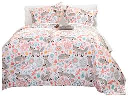 pixie fox quilt gray pink 3pc set twin