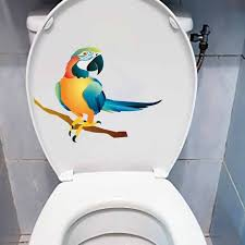 Super Sale 26f9 Yoja 21 4x15 8cm Creative Wall Sticker Toilet Seat Decal Kids Room Decoration Hand Painted Coloured Parrots T5 0790 Cicig Co