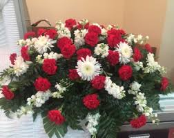 red and white casket spray sympathy in