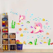Amazon Com Mew Dolphins Wall Decal Sticker Home Decor Diy Removable Art Vinyl Mural For Kids Room Bathroom Tile Kindergarten Girls Home Kitchen