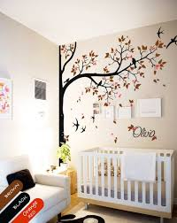 Tree Wall Decal With Personalized Name Or Quote Corner Decal Etsy