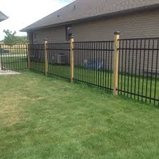 Wrought Iron Fence With 4x4 Wood Posts Black Caps Wrought Iron Fences Iron Fence Aluminum Fence