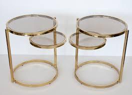 brass glass 2 tier swivel side table 7