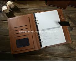 a5 leather cover 6 ring binder notebook