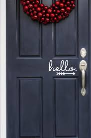 Hello Vinyl Door Decal With Arrow Hello Front Door Decal Etsy