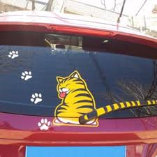 Funny Cartoon Cat Decoration Moving Tail Stickers Auto Vehicle Car Wiper Sticker Unbrandedgeneric Cat Decal Car Stickers Yellow Cat