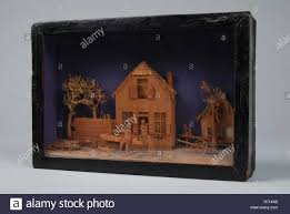 Bavelaar Small Viewing Box With Scene Of House With Carpenter S Workshop Diorama Footage Wood Paint Glass
