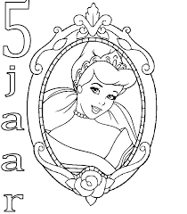 Kids N Fun Kleurplaat Prinsessen Verjaardag Assepoester 5 Jaar