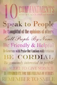 commandments for human relations quotes sentences