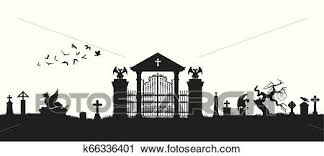 Black Silhouette Of Gothic Cemetery Medieval Architecture Graveyard With Gate Crypt And Tombstones Halloween Scene Clipart K66336401 Fotosearch