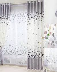 Elegant Cotton White And Gray Kids Curtain With Polka Dot Pattern