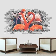 Shop Pink Flamingo 3d Wall Decal Safari Animals Hole In Wall Vinyl Sticker Overstock 32203505 84 Wide X 64 Tall Inches