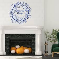Welcome Home Wreath Design Living Room Vinyl Home Decor Wall Decal Customvinyldecor Com