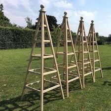 wooden garden obelisks planters oak