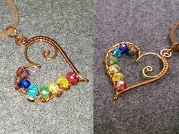 heart pendants with colored crystal