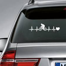 Cycling Heartbeat Vinyl Sticker Car Window Decor Bicycling Ekg Heartbeat Laptop Decal For Apple Macbook Air Pro Decoration Wall Stickers Aliexpress