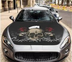 Vinyl Decal Skull In Hat Car Hood Wrap Full Color Graphics Guns Roses Sticker Ebay
