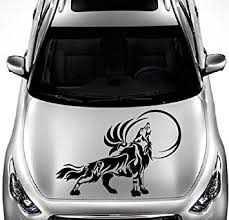Amazon Com In Style Decals Vehicle Auto Car Decor Vinyl Decal Art Sticker Howling Wolf Moon Tribal Wild Animal Removable Design For Hood 1046 Automotive