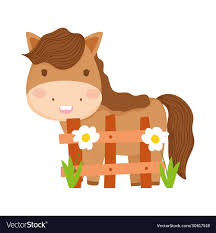 Farm Animals Horse Wooden Fence Flowers Cartoon Vector Image