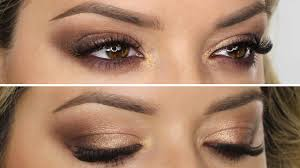 brown peach gold shimmer makeup