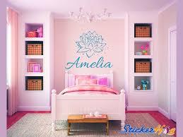 Custom Lotus Flower Name Monogram Girls Bedroom Vinyl Wall Decal Graphics Bedroom Home Decor