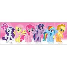My Little Pony Pink Characters 36x12 Art Print Poster Girl Kids Rarity Fluttershy Pinkie Pie Twilight Sparkle Rainbow Dash Apple Dash Walmart Com Walmart Com