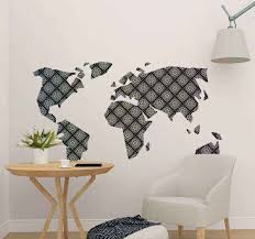 Map Mandal Style World Map Wall Sticker Tenstickers