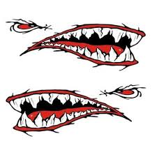 2 Shark Teeth Mouth Stickers Kayak Boat Car Waterproof Funny Decals Car Parts Val Buy At A Low Prices On Joom E Commerce Platform