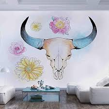 Amazon Com 77x30 Inches Wall Mural Watercolor Illustration Of Mountain Goat Skull With Flowers And Soft Colors Folkloric Peel And Stick Self Adhesive Wallpaper Removable Large Wall Sticker Wall Decor For Home Of Home