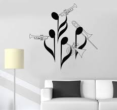 Vinyl Wall Decal Notes Musicians Orchestra Wind Instrument Trumpet Tub Wallstickers4you