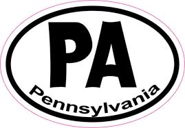 3in X 2in Oval Pa Pennsylvania Sticker Vinyl Car Window State Bumper Decal Stickertalk