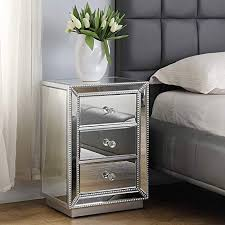 wide mirrored 3 drawer accent table