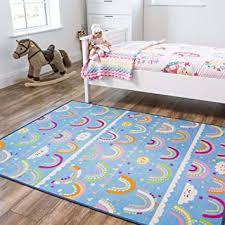 Amazon Com Rainbow Pink Blue Colourful Kids Girls Childrens Floor Play Area Rug Mat 4 4 X 5 7 Furniture Decor