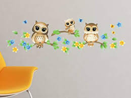 Amazon Com Owls On Branches Fabric Wall Decal Brown Set Of 3 Owls On Tree Branches With Flowers And Butterflies 4 Color Options Non Toxic Reusable Repositionable Baby