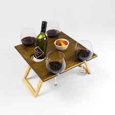 folding picnic table wine glass