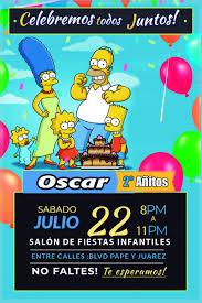 Invitaciones Infantiles Los Simpson Listas Para Imprimir 39 00 En Mercado Libre