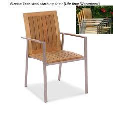 teak steel outdoor stacking chair