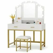 white gold vanity set with mirror 4