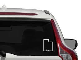 Utah Home Vinyl Decal Outline State Of Utah Car Decal Utah Etsy