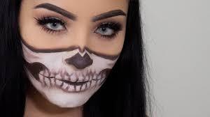 easy half skull halloween makeup you